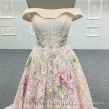 Usine en gros hors épaule rose A-ligne robe de soirée BB117