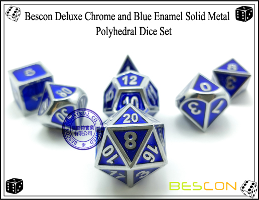 Bescon Deluxe Chrome and Blue Enamel Solid Metal Polyhedral Role Playing RPG Game Dice Set (7 Die in Pack)-1
