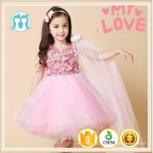 mais recente design meninas vestido appliqued flor envoltórios vestir crianças roupas desgaste