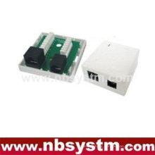 2 ports Surface Box UTP Cat6 RJ45 + RJ11 PCB jack