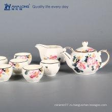 Китайский стиль чайный сервиз пион китайский удачливый костяной фарфор чашка чая и горшок