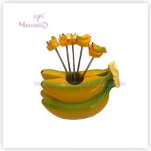 Food Grade Plastic Banana Design Fruit Fork Set Fruit Pick