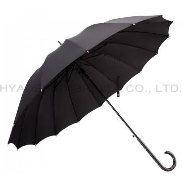 Zwarte 16 ribben Strong Auto Open Straight Umbrella