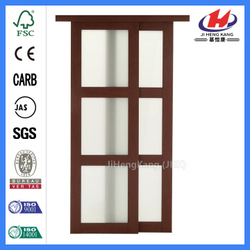JHK- 3 Panel Bathroom Wood Sliding Glass Door System