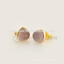 Handmade Vermeil Gold Natural Gemstone Bezel Stud Earrings, Atacado Melhor Qualidade Gemstone Bezel Brincos Jóias Fabricante