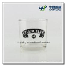 Silk Logo Printing Transpaent Cylinder Glass Candlestick