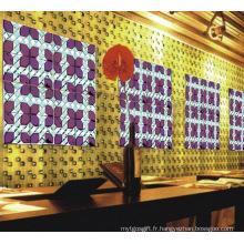 Mosaïque en miroir en verre rouge violet pour bar à vin
