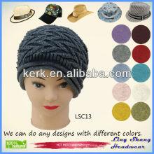 LSC13 Ningbo Lingshang moda inverno 100% algodão projeto agradável chapéu de malha venda quente
