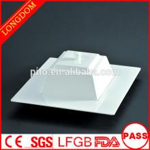 Hochwertige, elegante, breitflächige, quadratische Keramik-Porzellansuppe mit Deckel
