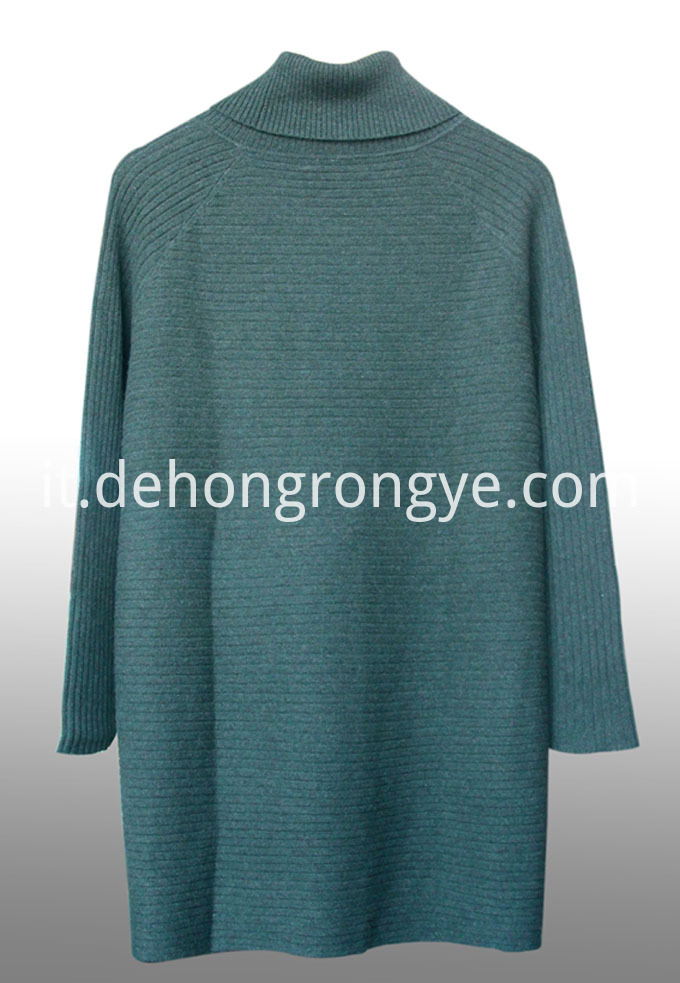 Dark Green Cashmere Sweaters With Large Lapels