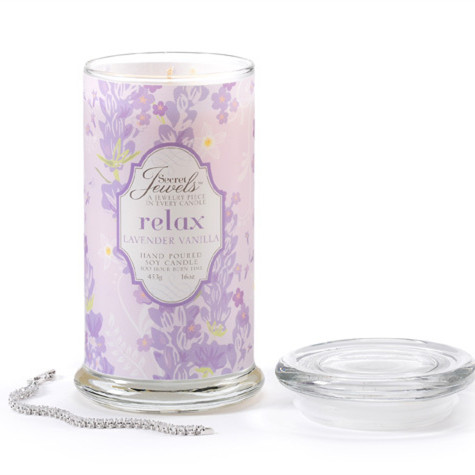 Secret Jewels soy jar candle with scents