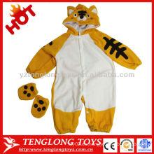Mameluco animal barato del bebé del tigre del invierno de la manga larga