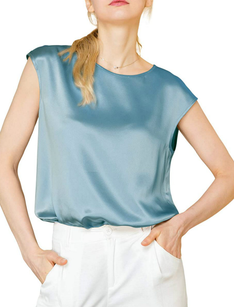 Blue Haze Silk Tops