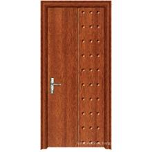 Puerta de madera del PVC de la buena calidad de la venta caliente con diseño de la manera