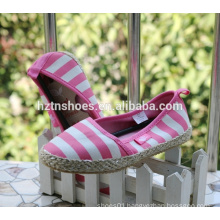 Pink girls casual shoes striped canvas espadrille shoes
