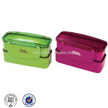 Venda quente popular China bento plástico caixa dupla camada para criança