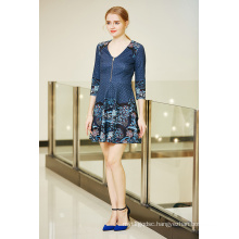 Digital Printing Zip Front V Neck Flare Ponte Dress with Three Quater Sleeve