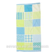 100% Baumwolle Patchwork Türkis Hot Prints brasilianischen Strand Handtuch BT-080 China Lieferanten Großhandel