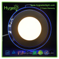 Dimmable double couleur 12w led led light white chaud + Blue round recessed ceiling panel lights lampe pour chambre