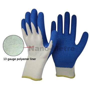 NMSAFETY 13 bitola Luva de látex de segurança azul látex revestido luva de construção enrugado luvas de látex