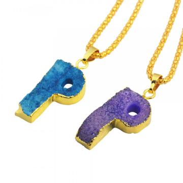Colorful Crystal Alphabet Letter P Pendant Necklace