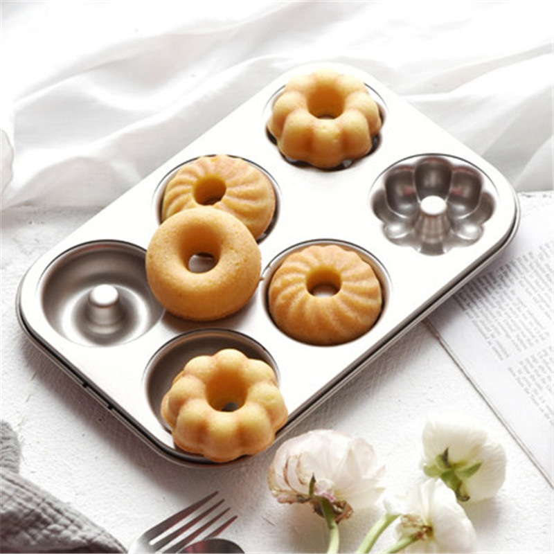6 cups three shapes doughnut non stick mould