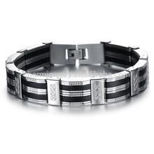 2015 neue Männer Mode Persönlichkeit reichen Silikon Titan Stahl Armband PH850