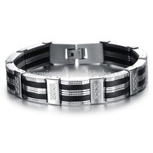 2015 new men's fashion personality wealthy silicone titanium steel bracelet PH850