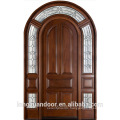 Arch solid wooden door double entry wood door with glass arch wood main door designs