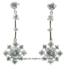 Buena calidad y pendiente de la plata esterlina de la venta al por mayor 925 pendiente de la joyería de la manera Cadena de plata larga y pendientes huecos E6401 de la bola