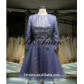 1A918 Sexy Misty Blue Sequin Sash Long Sleeve Back Open Evening Dress Prom Dress