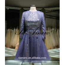 1A918 Sexy Misty Blue Sequin Sash Long Sleeve Back Open Evening Dress Prom Dress