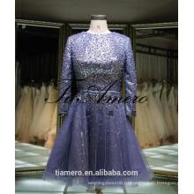 1A918 сексуальная Мисти синий блесток створки с длинным рукавом открытой спиной вечернее платье выпускного вечера платье