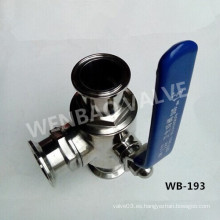 Válvula de bola de sujeción sanitaria de 3 vías con manija manual