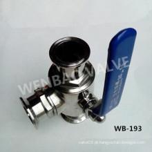 Válvula de esfera de três vias sanitárias com alça manual