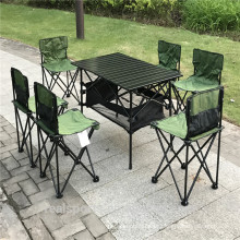 Conjunto de muebles de patio Conjunto de silla plegable de mesa de camping de 7 piezas al aire libre