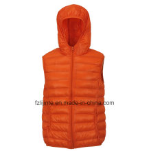 Women′s Hooded Vest Fake Down Padded Waistcoat