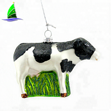 China Supplier Blown Glass Animal Figurines Black White Dotted Glass Cow Christmas Ornament