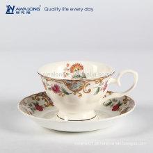 Estilo Europeu Presente Dom embalagens Fine Bone China chá impressão copo de café e Saucer Set