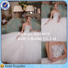 2015 neueste Art-luxuriöser Kristall wulstige trägerlose a-line entfernbare Rock-elegante Hochzeits-Kleider Australien