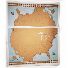 USA Scratch Map 250g Coated Paper Material and 61*46cm Size Scratch off Map