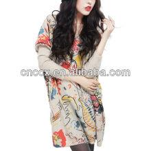 12STC0605 pintura al óleo patrones de tejido suelto niñas suéteres