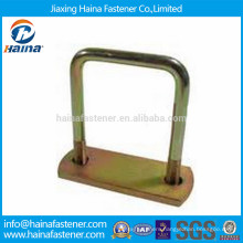 China made yellow Zinc plated customize square U Bolt with plate