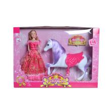 En71 Aprovação Crianças brinquedo boneca de moda plástica com cavalo (h1988010)
