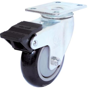 Swivel PU Caster with Dual Brake(Black, Round Surface) (3303904)