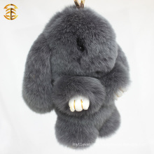 Fashion Charm Pendant Genuine Rex Rabbit Fur Keychain
