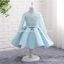 2017 baby girls party blue costume long sleeve higher collar blue color satin wedding dress for flower girl