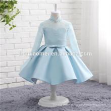 2017 meninas do bebê partido azul traje manga longa colarinho superior azul cor de cetim vestido de noiva para a menina de flor