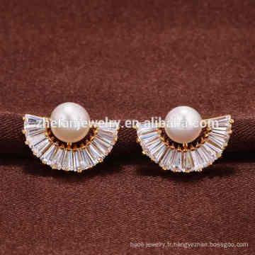 Boucles d'oreilles simples en or de Guangzhou pour femmes