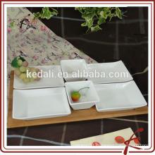 Bandeja cuadrada de servicio de aperitivos de porcelana blanca